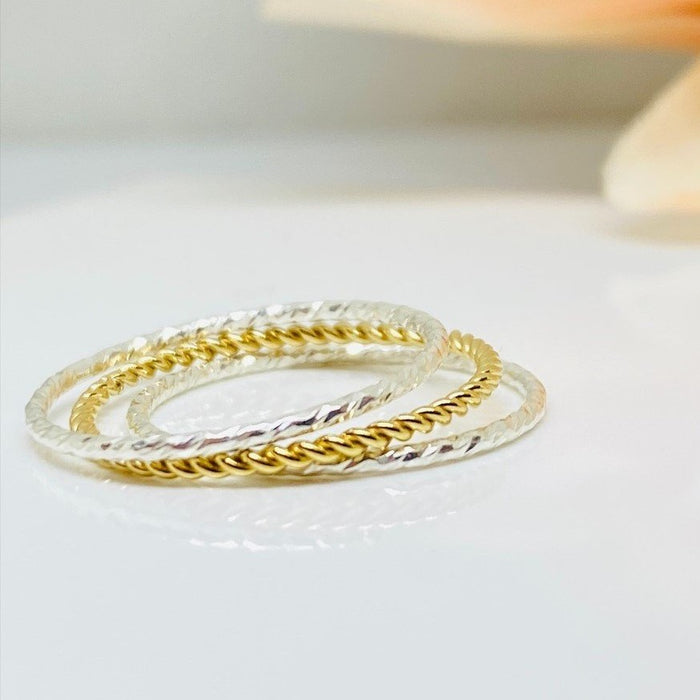 Gold and Sterling Silver Sparkle Stacking Rings, 3 Stacking Ring Set