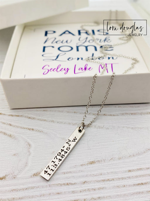 Custom Coordinates Necklace, Hometown Pride