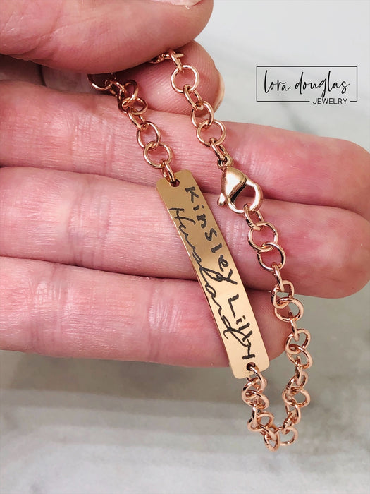Rose Gold Handwriting Bracelet, Engrave Your Handwriting