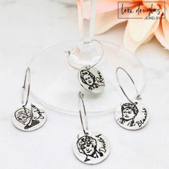 Golden Girls Wine Glass Charms