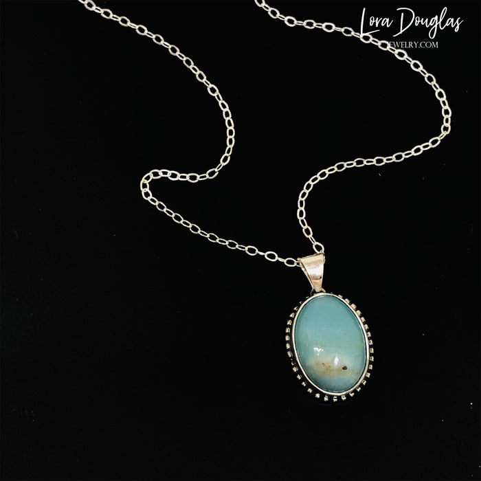Natural Amazonite Pendant Necklace, Sterling Silver