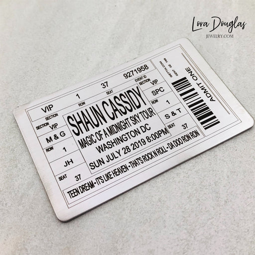 Metal Ticket for any Band, Concert, or Event - Shadow Box Insert