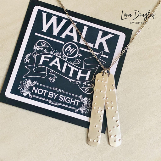 walk by faith not by sight braille necklace
