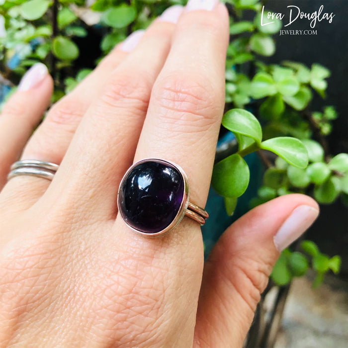 Amethyst and Bronze Ring, Size 8