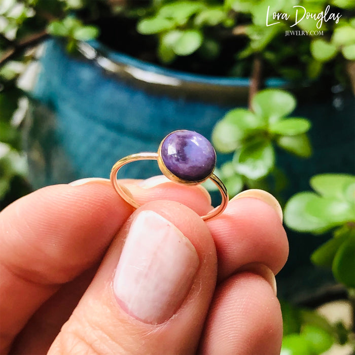 Charoite Gold-Filled Ring, Size 6