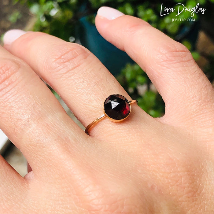 Rose-Cut Garnet Gold-Filled Ring, Size 7