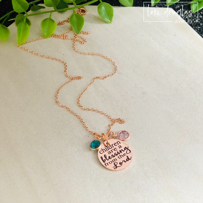 Children Are A Blessing From The Lord Necklace, Birthstone Jewelry