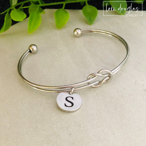 Personalized Initial Tie the Knot Bracelet, Bridal Shower, Bridesmaid Jewelry