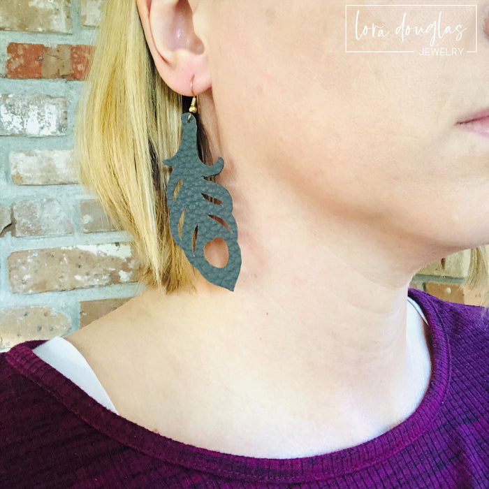 Leather Earrings, Leather Feather Earrings