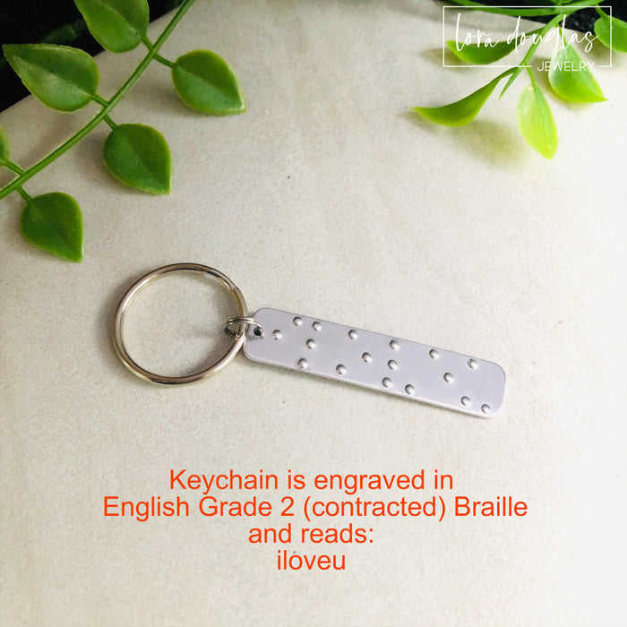 I Love You Braille Keychain, Braille Key chain