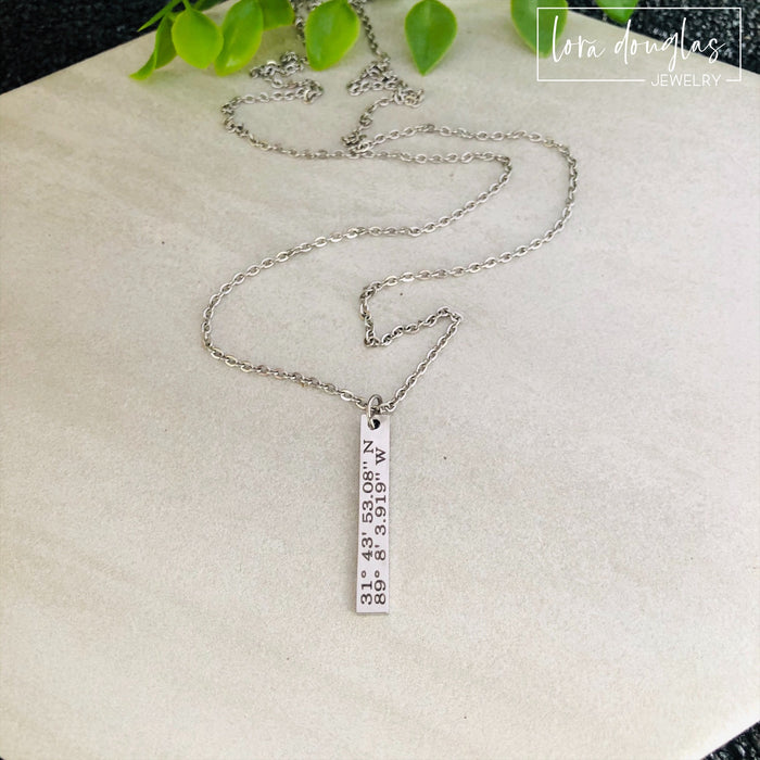 Custom Coordinates Necklace, Latitude Longitude Necklace