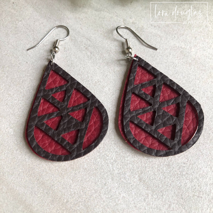 Leather Earrings, Leather Teardrop Earrings