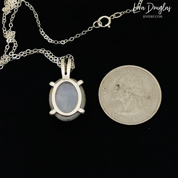 White Quartz Sterling Silver Pendant Necklace