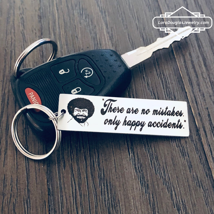 Bob Ross Inspired Keychain, There Are No Mistakes Only Happy Accidents