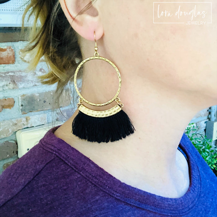 Gold and Black Fringe Earrings