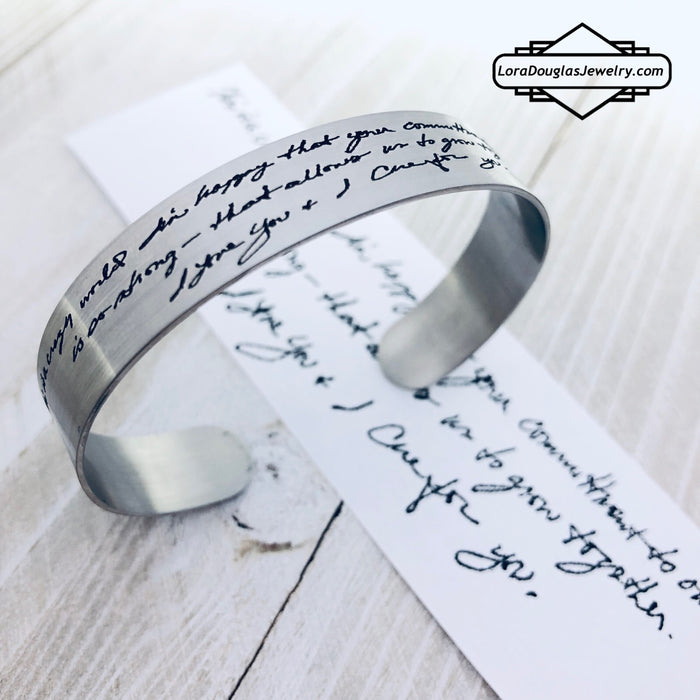 Handwriting Cuff Bracelet, Engrave Your Handwriting - Lora Douglas Jewelry