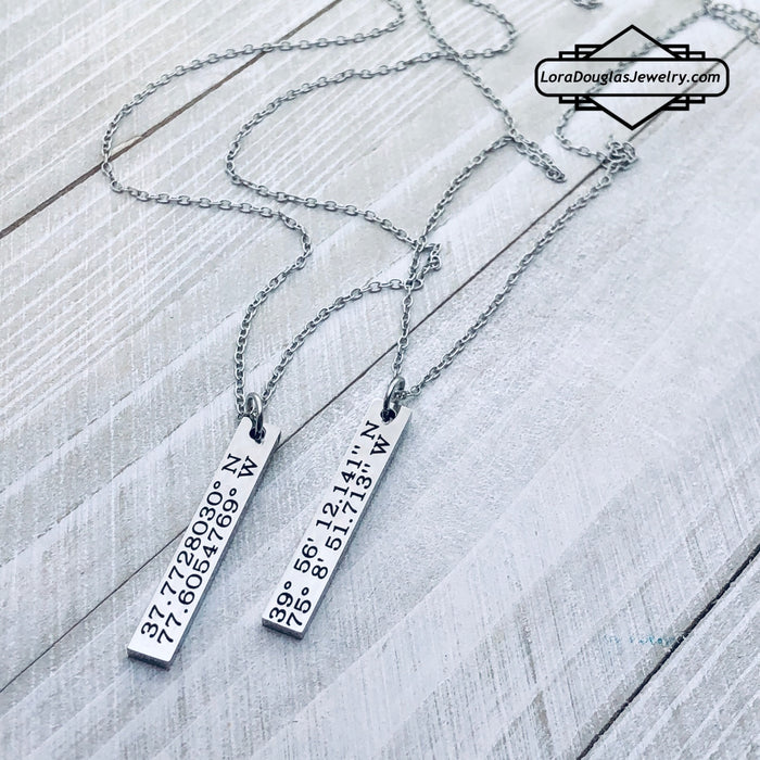 Custom Coordinates Necklace, Latitude Longitude Necklace - Lora Douglas Jewelry