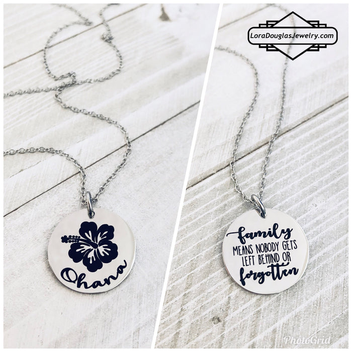 Ohana, Family means no one gets left behind or forgotten, Ohana Jewelry - Lora Douglas Jewelry