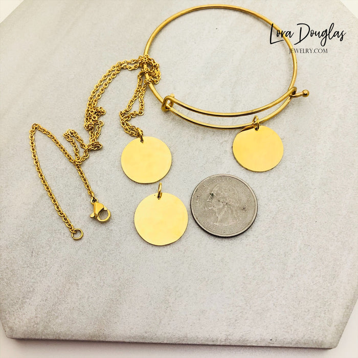 Design Your Own Engraved Charm, Necklace, or Bracelet (Gold Disc)