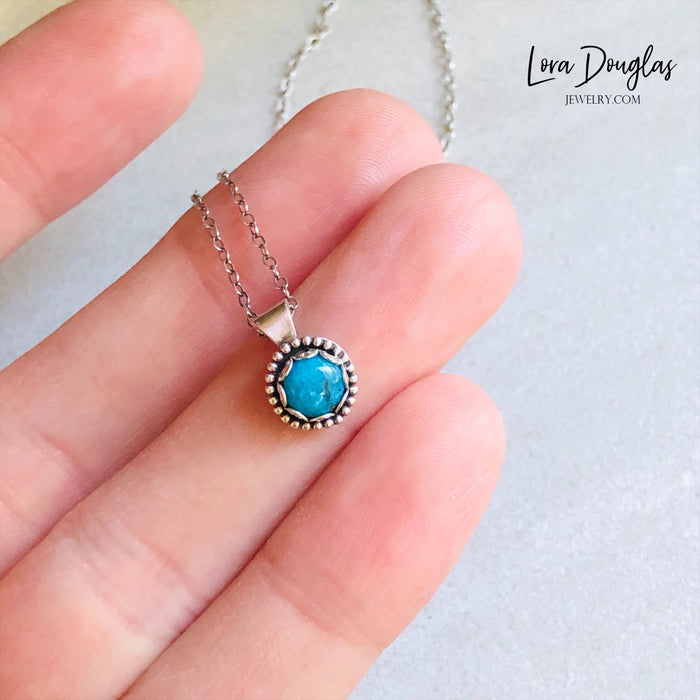 Turquoise Pendant Necklace, Sterling Silver