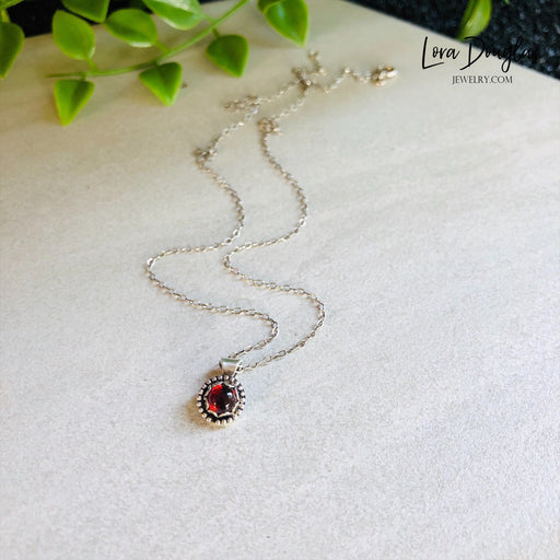 Garnet Pendant Necklace, Sterling Silver