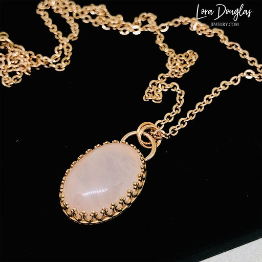 Rose Quartz and Bronze Necklace