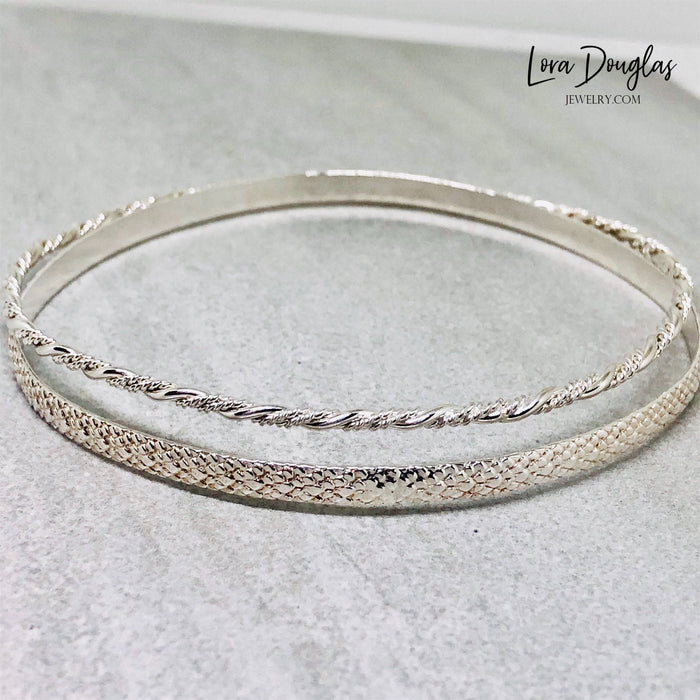 Sterling Silver Bangle Bracelet Stack