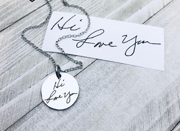 Handwriting Jewelry, Engrave Your Child's Handwriting