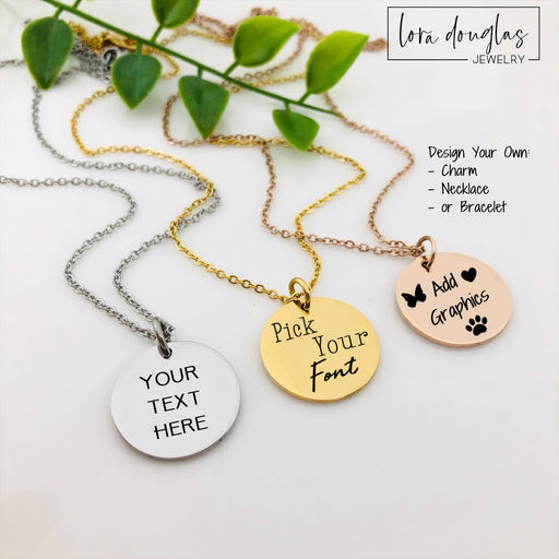 Personalized Engraved Necklace, Circle Necklace, Silver, Rose Gold or Gold Necklace