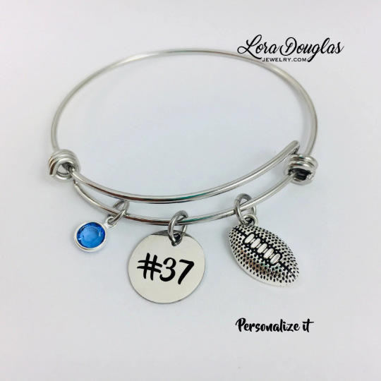 Football Bangle Bracelet, Football Charm Bracelet - Lora Douglas Jewelry