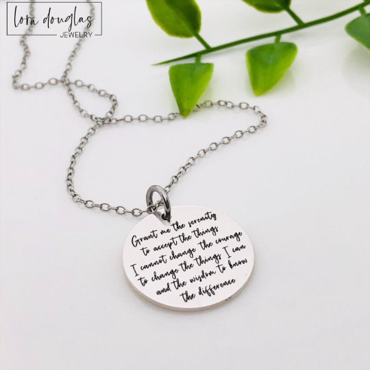 Serenity Prayer Jewelry, Engraved Charm, Necklace, or Bracelet