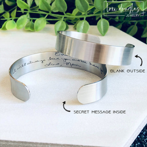 Secret Message Handwriting Bracelet, Engrave Your Handwriting