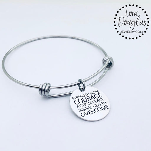 Courage Bangle Bracelet, Silver Bangle Bracelet - Lora Douglas Jewelry