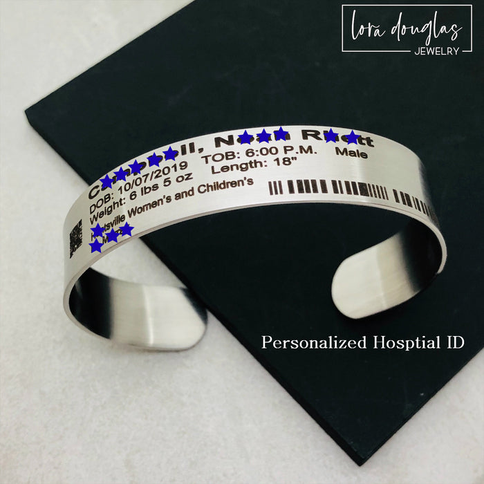 Hospital ID Bracelet, Personalized Hospital ID