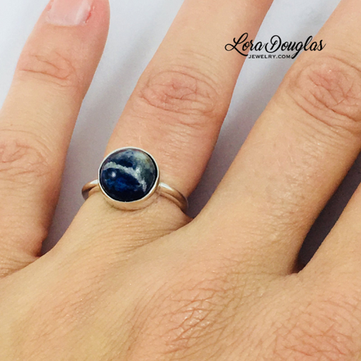 Sodalite Ring, Sterling Silver Ring, Size 6