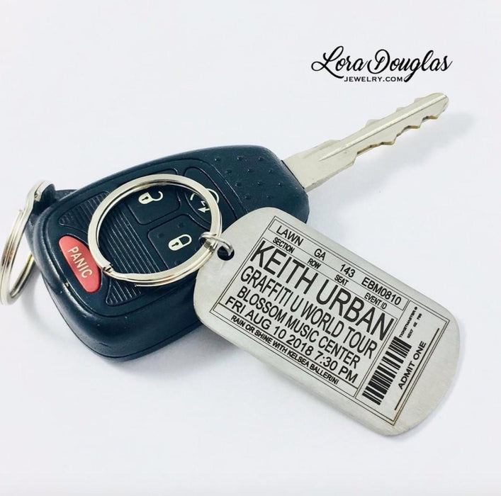 Concert Ticket Key Chain, Personalized for any Band, Concert, or Event
