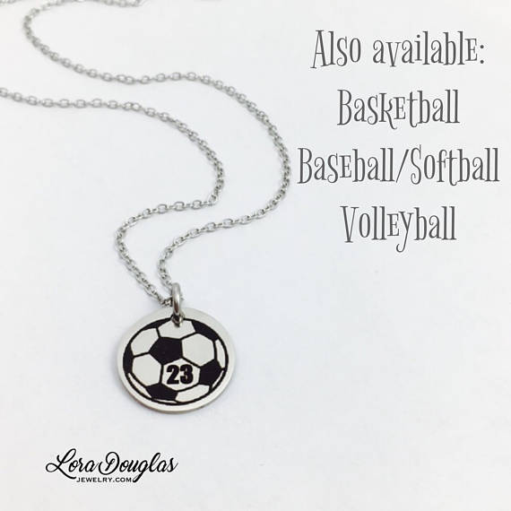 Personalized BasketBall, Baseball, Softball, Volleyball, Soccer, Pendant - Lora Douglas Jewelry