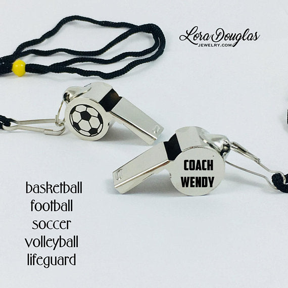 Personalized Coaches Whistle, Coach Gift - Lora Douglas Jewelry