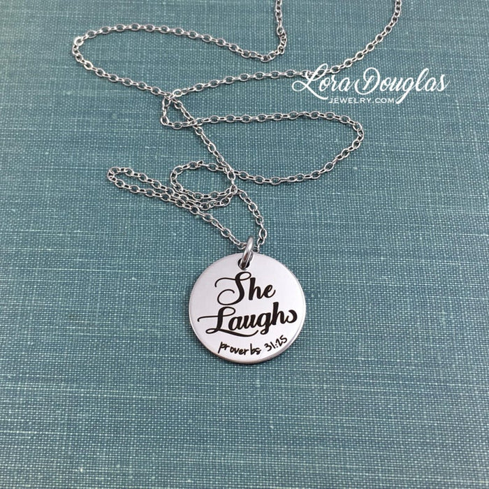 She Laughs, Proverbs 31, Necklace, Bracelet, or Charm