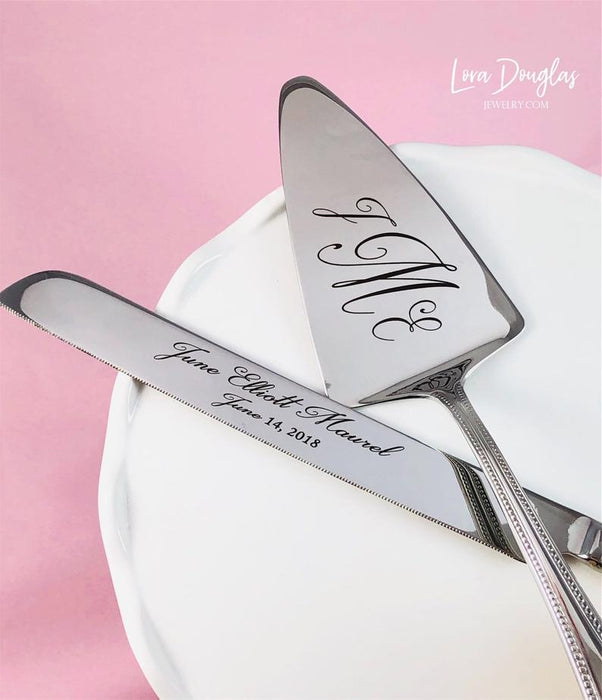Engraved Cake Knife Set