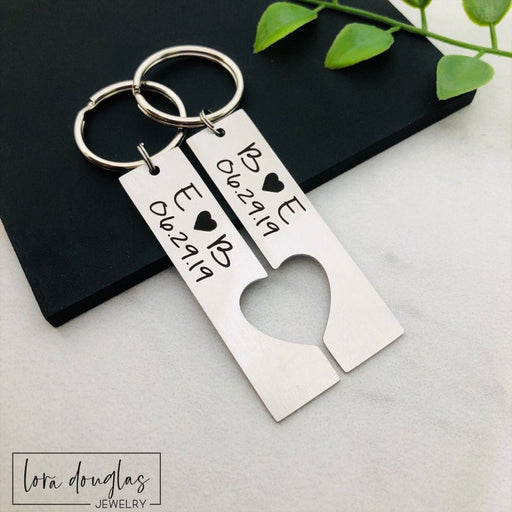 Personalized Keychain Set, His and Hers Key Chains