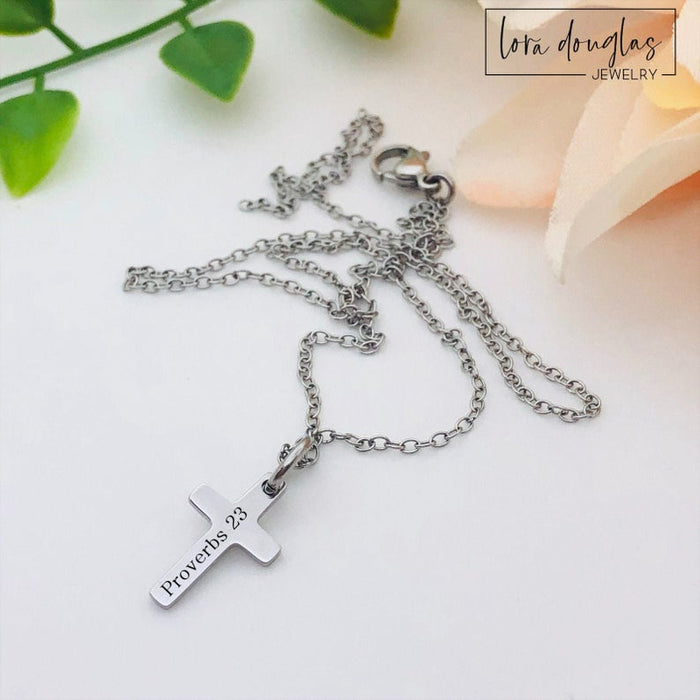 Engraved Cross Necklace, Engraved Cross