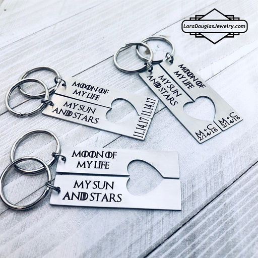 Moon of My Life, My Sun and Stars, His and Hers Key Chains
