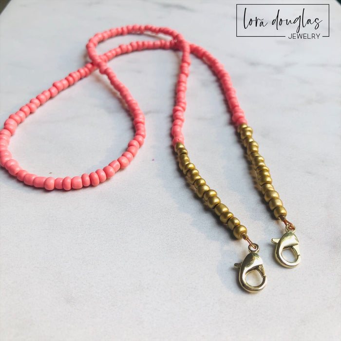 Mask Lanyard, Mask Holder, Mask Necklace | Coral and Gold