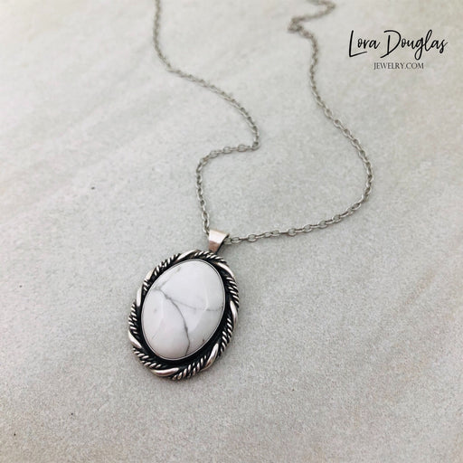 Howlite Pendant Necklace, Sterling Silver