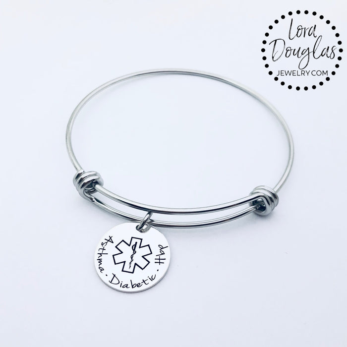 Medical Alert Bangle Bracelet, Personalized Medical Alert - Lora Douglas Jewelry