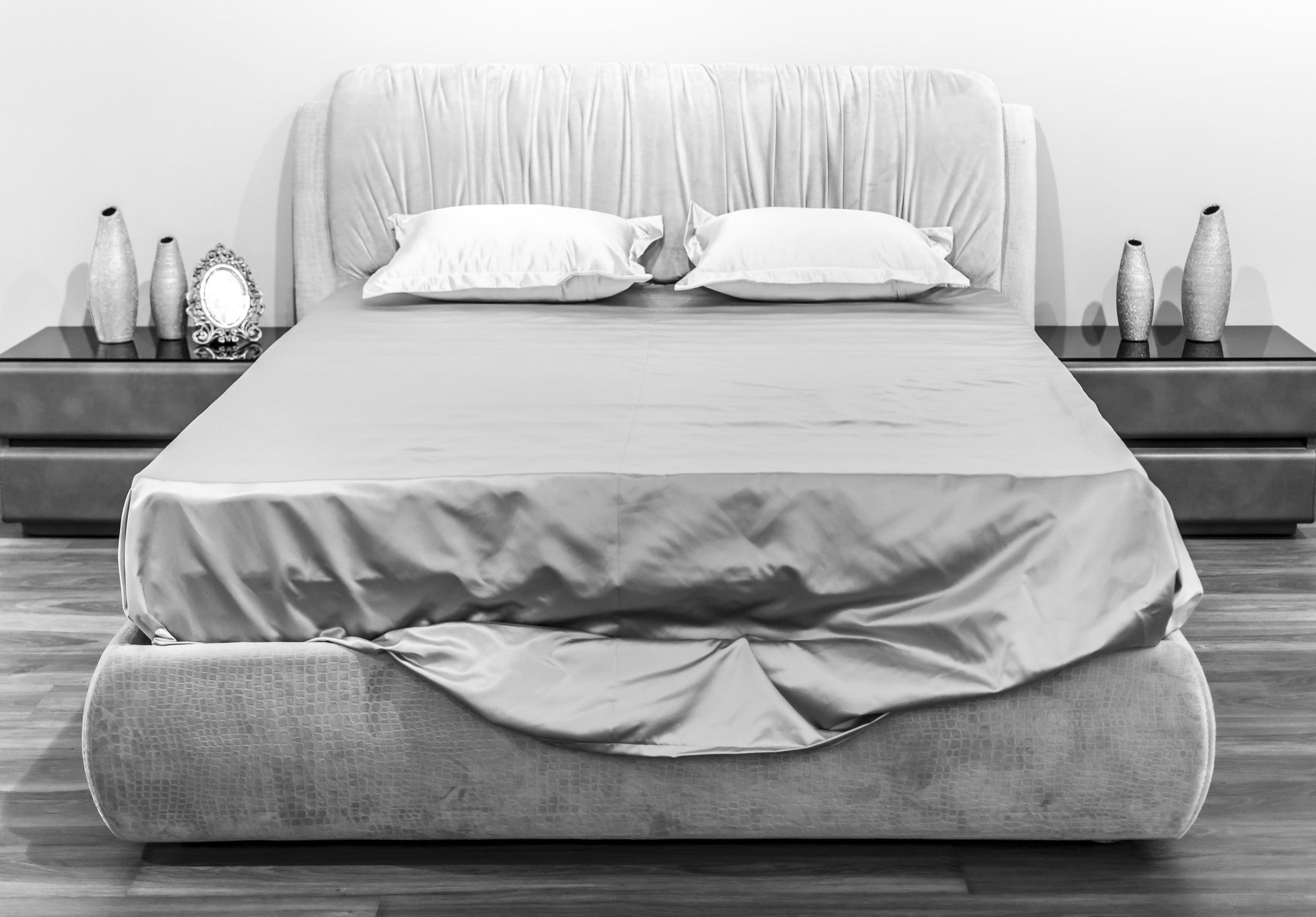 Silver Grey Silk Duvet Cover · Black ...
