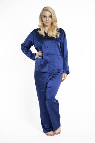 Blue Silk Pyjamas Front