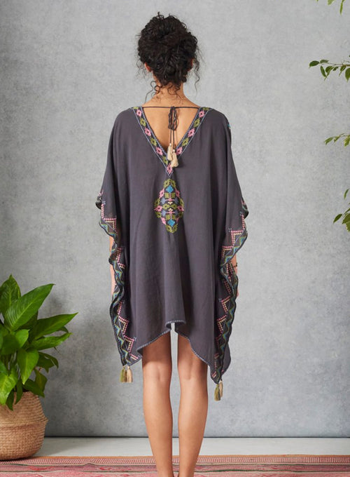 Inari Embroidered Caftan Faded black & multi