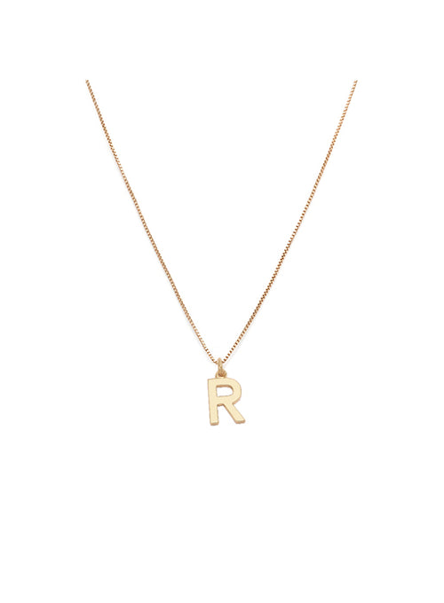 Initial Pendant Necklace - R